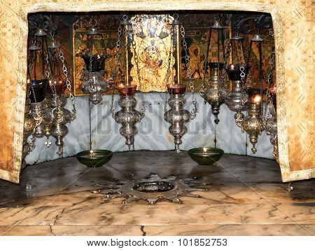 Bethlehem - July 12, 2015: A Silver Star Marks The Traditional Site Of The Birth Of Jesus In Bethleh