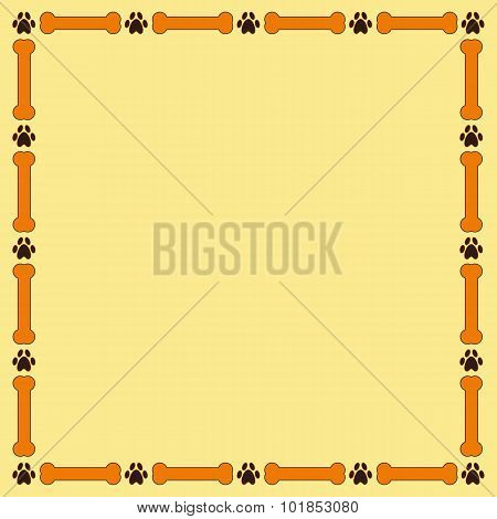 Frame With Bones And Paw Prints