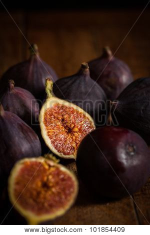 Figs On A Wooden Surface