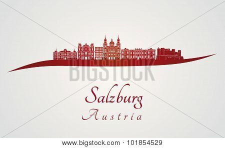 Salzburg Skyline In Red