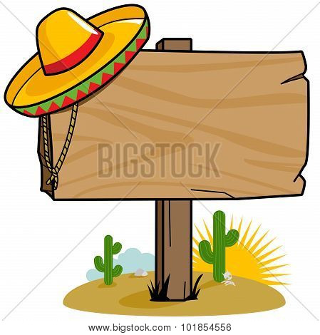 Mexican wooden signpost