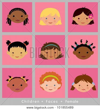 set of cute children's faces. girls. flat style. different ethnic groups.