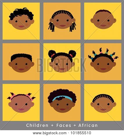 set of cute children's faces. African. flat style.