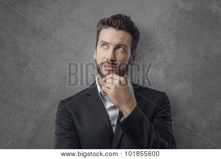 Pensive Young Businessman