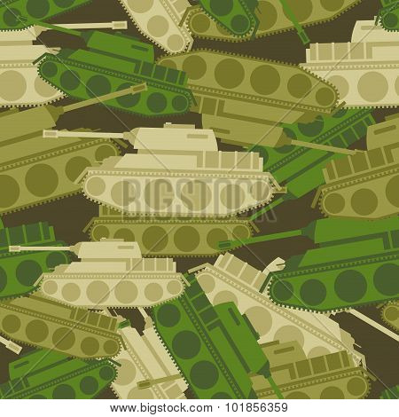 Military Background From Tanks. Army Seamless Patern. Protective Camouflage Of Military Vehicles. So