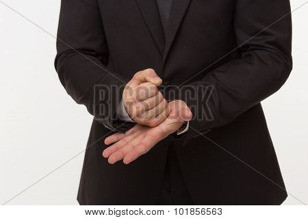 Stop gesture of businessman