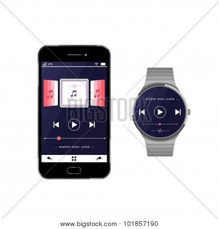 Set Smartphone And Smart Watch