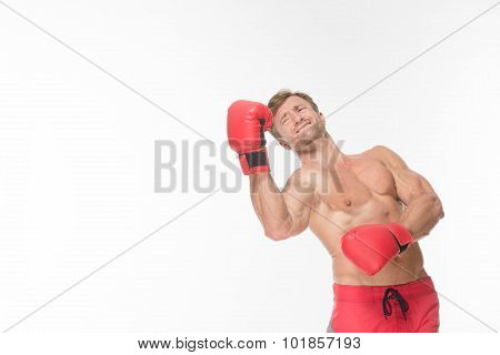 Boxer fighter in red boxing gloves