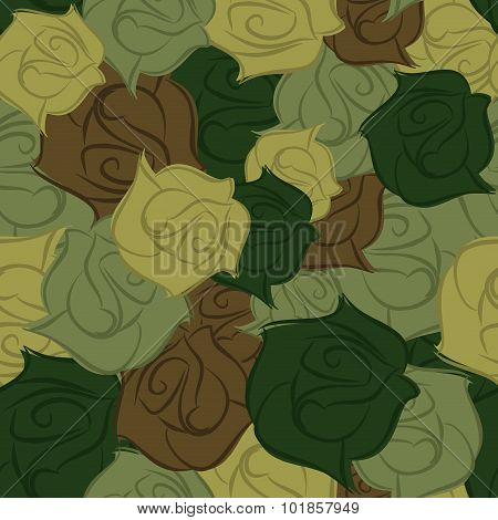 Rose Army Seamless Pattern. Military Texture Of Flowers. Vector Flower Protective Camouflage. Beauti