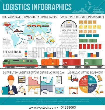 International logistics company network infographics chart