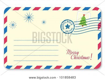 Template New year's letter to Santa Claus with stamp and postage mark