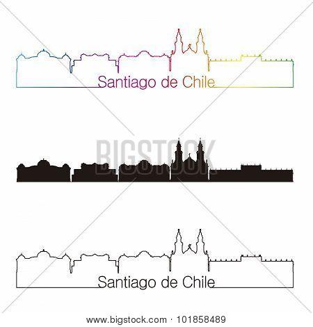 Santiago De Chile 2 Skyline Linear Style With Rainbow