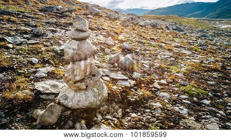 Stack Of Rocks Stones, Norway Nature.