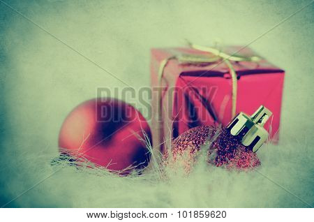Christmas Decorations On Fake Fur - Cross Processed