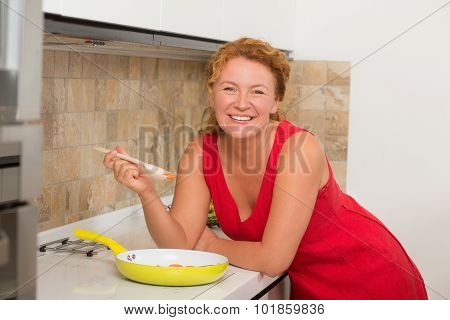 Mature woman tasting