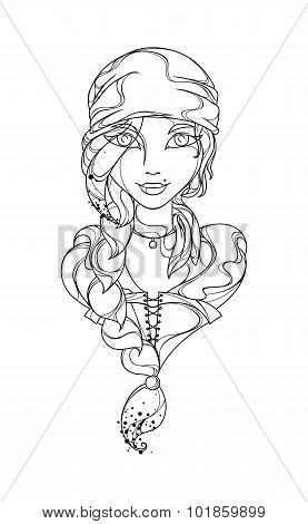 Funny vector girl pirate painted black lines