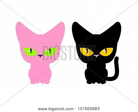Pink And Black Cat. Vector Set Pets. Animal On White Background.
