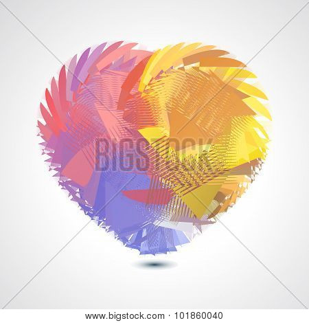 Abstract geometric twisted heart - vector illustration