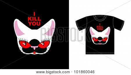 I  Kill You. Angry White Cat With Red Eyes. Logo For Bully. Ferocious Pet. Vector Print T-shirt