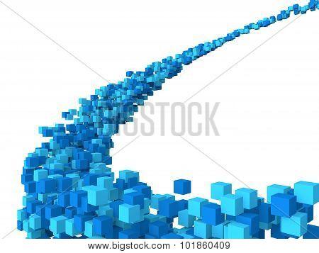 3d blue cubes futuristic design