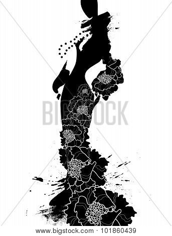 Fashion illustration a woman in long dress, ink.