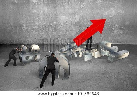 Man Holding Arrow Up Sign Businessmen Pushing Currency Symbols