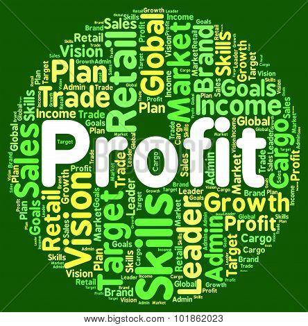 Profit Word Means Wordclouds Investment And Text