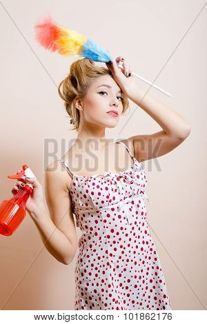 Desperate housewife with spray