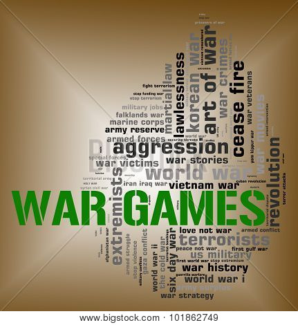 War Games Represents Military Action And Battle