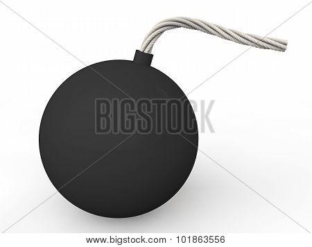 3d black spherical bomb