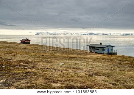Lonely House At The Coast Near Longyearbyen, Svalbard