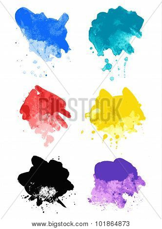 Rainbow splash watercolor paint splatters