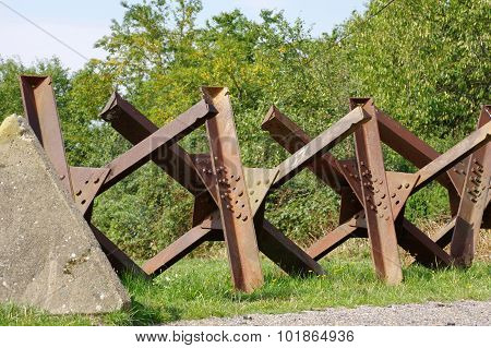 tanks barriers at the borders detail