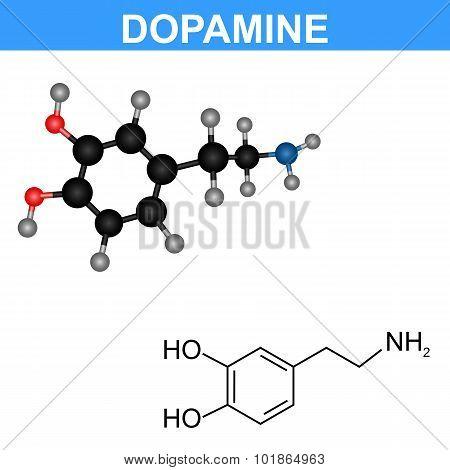 Dopamine molecule model