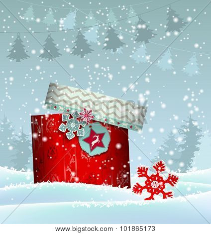 Christmas background with colorful gift box, illustration