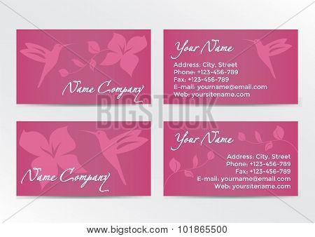 Business Cards Design with Hummingbird on Pink Background