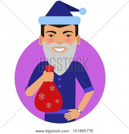 Man holding sack with gifts