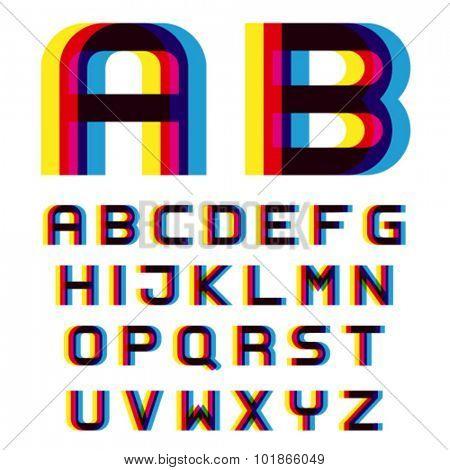 EPS10 vector distortion blur font alphabet letters