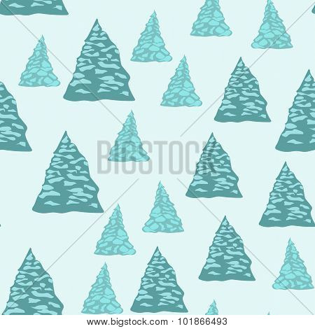 Seamless background, firtrees with snow