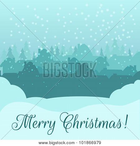 Christmas card.  Silhouette of a small town early on morning.