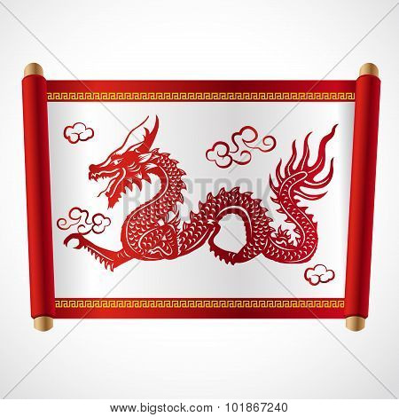 Red letter Roll and red dragon china vector design