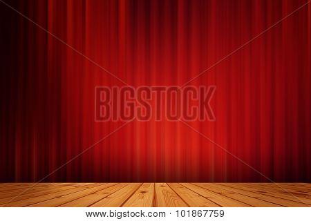 Red black drape cinema  and wood floor
