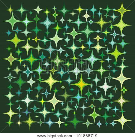 Green Yellow Star Collection Over A Deep Green Backdrop