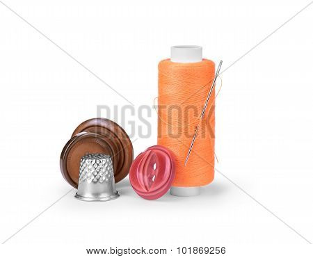 Thread, Needle And Thimble Isolated On White