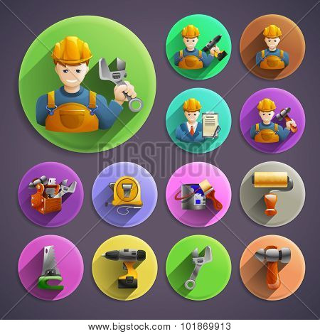 Construction remodeling round isometric icons collection