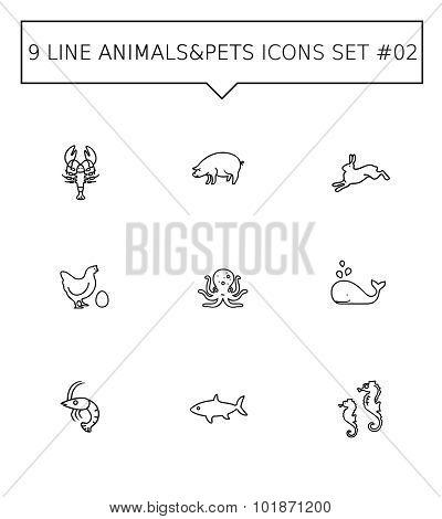 Animals and pets icon set 2
