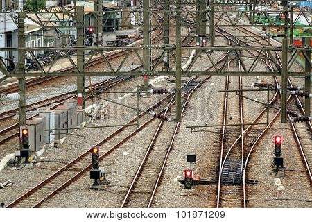 Train Tracks, Signals And Power Lines