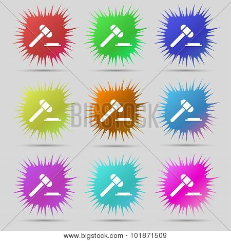 Judge Hammer Icon. Nine Original Needle Buttons. Vector
