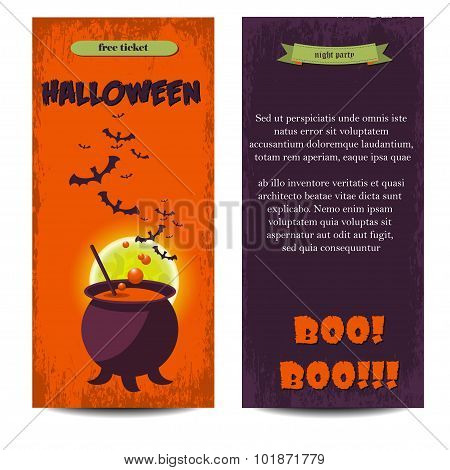 Halloween Banners Set. Vector Illustration. Flat Halloween Icons In Circles On Textured Backdrop. Tr
