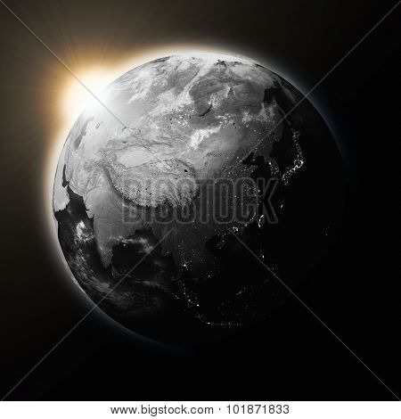Sun Over Southeast Asia On Dark Planet Earth
